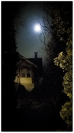 moon, house and hedge